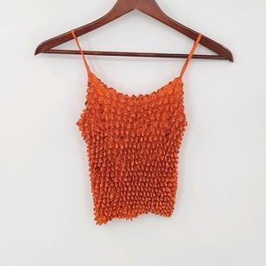 Extra Stretchy Popcorn  Crinkle Crop Tank Top